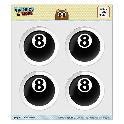 Puffy Bubble Dome Scrapbooking Crafting Stickers - Eight Ball Pool Billiards - Set of 4 - 2.0