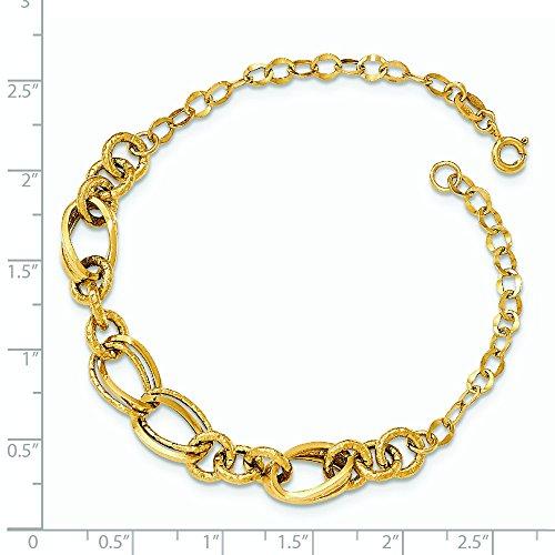 Or 14carats poli et texturé Bracelet Lien Fancy-20cm