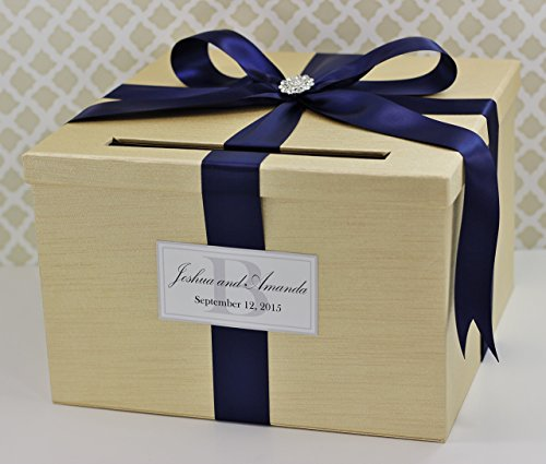 Wedding Card Box Money Holder Champagne Gold and Navy Blue Customizable