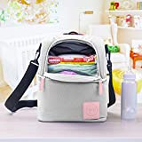 Diaper Bag Organizer - Insulated Diaper Bag Backpack with Ice Pack - Diaper Bag Cooler Lunch Box - Mommy Travel Bookbag - Baby Bottle Breast Milk Pump Breastfeeding Travel Tote (Grey/Pink)
