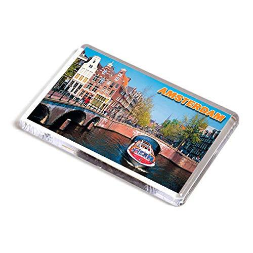 AWS Magnete in PVC Rigido Amsterdam Olanda Holland Souvenir calamita Fridge Magnet Magnete da frigo in plastica Dura con Immagine Fotografica Citt/à Paesi Bassi