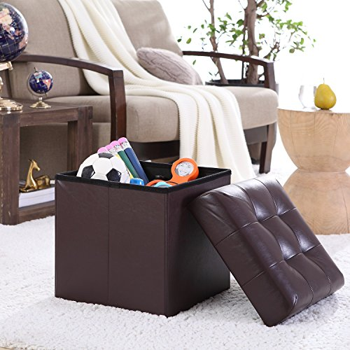 Tufted Leather Storage Ottoman (Ellington Home Foldable Tufted Faux Leather Storage Ottoman Square Cube Foot Rest Stool/Seat - 15