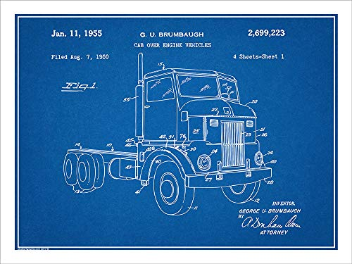 - Studio 21 Graphix 1950 Peterbuilt Cab Over Diesel Semi Truck Patent Print Art Poster UNFRAMED Blueprint 18