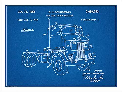 "Studio 21 Graphix 1950 Peterbuilt Cab Over Diesel Semi Truck Patent Print Art Poster UNFRAMED Blueprint 18"" X 24"""