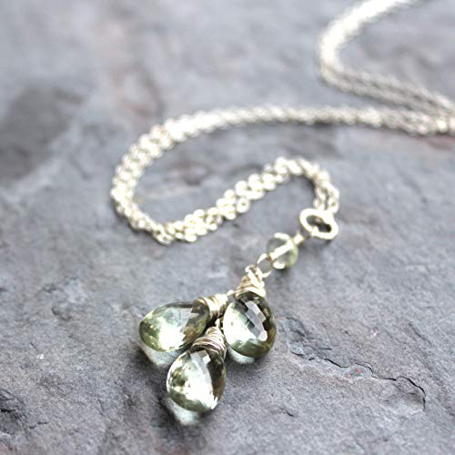 - Prasiolite Necklace Sterling Silver Green Amethyst Trio Teardrops Pendant Mint 18 Inches