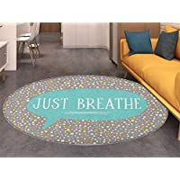 Just Breathe Round Rugs for Bedroom Minimal Composition with Lettering and Speech Bubble Colorful Doodle Dots Circle Rugs for Living Room Multicolor