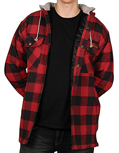 Amazon.com: Farmall IH Men's Quilt Lined Flannel Hoodie 3 Red ... : quilted flannel jacket with hood - Adamdwight.com