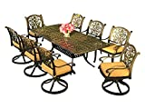 Cheap Everhome Designs – Victoria 9-Piece 84″ Rectangular Cast Aluminum Patio Dining Set with Premium Sunbrella Cushions (8 Swivel Rocking Chairs)