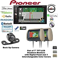 Pioneer AVIC-5200NEX 6.2 Navigation DVD Receiver with Bluetooth, HD Radio, Backup Camera SV-6922.LM.II and TWO Concept CLS700X Headrest Monitors and a FREE SOTS Air Freshener