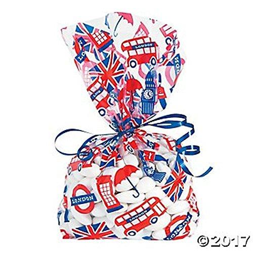 London Royal Theme Cellophane Bags - 12 (Tea Party Ribbons)