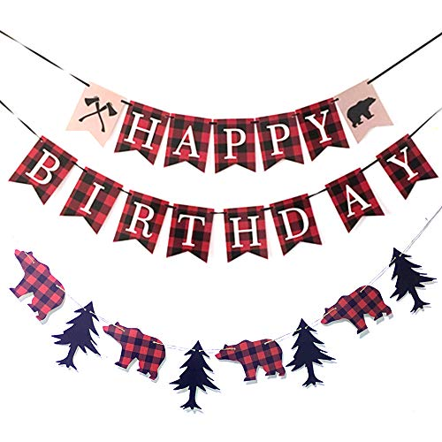 Rainlemon Lumberjack Happy Birthday Banner Timber Plaid Boy Birthday Party Decoration Supplies