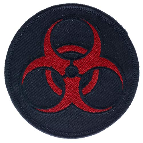 Biohazard Symbol Red on Black 3
