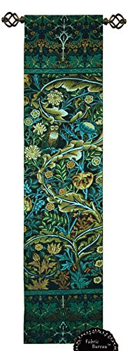 (Decor Plus Beautiful William Morris Tree of Life Blue Green Wood Panel Jacquard Tapestry Wall Hanging (Yw011) (11