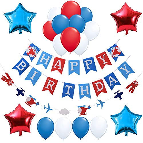 (Airplane Aviator Themed Party Decorations:1 Happy Birthday Banner,1 Airplane and Clouds Garland,Stars Foil and Latex Balloon,Party Supplies and Favors for Boys Girls Kids 1st 2nd 3rd 4th Bday Decor,Backdrop for)