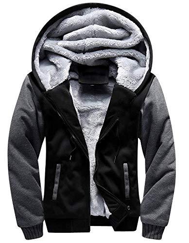 Little Beauty Heavyweight Hoodies for Men Sherpa Lined Fleece Full Zip Plus Size Sweatshirt Jackets Outwear(US XL/Label 3XL, ()