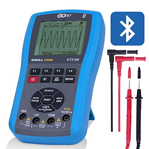 EONE Handheld Oscilloscope USB Multimeter Bluetooth Digital Ohm Table Frequency Meter kit LED Tester 20MHz 80Ms/s A/D Automatic Waveform Capture Function DC/AC Voltage/Current Resistance Test ET310B
