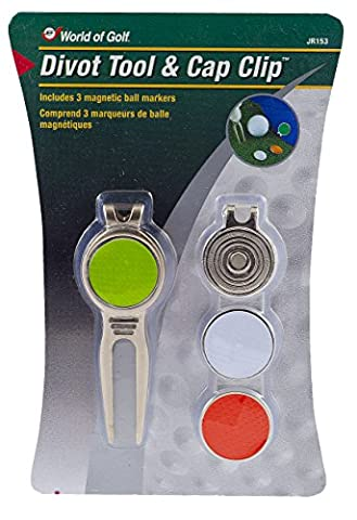 JEF World of Golf JR153 Metal Divot Golf Tool and Cap Clip with 3 Ball Markers - Magnetic Ball Marker