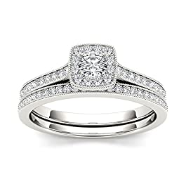 IGI Certified Sterling Silver 1/2ct TDW Diamond Halo Bridal Set