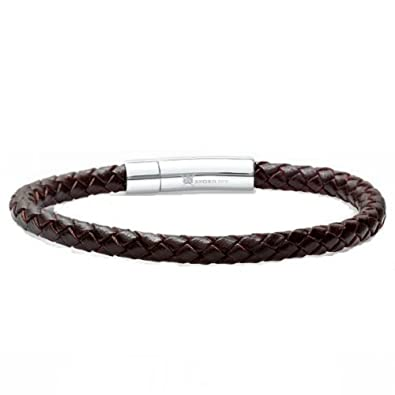 Braided Dark Brown Leather Mens Bracelet 6 Mm 8 1 2 Inches With