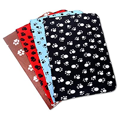 Comsmart Puppy Blanket Warm Dog Cat Fleece Blankets Pet Sleep Mat Pad Bed Cover with Paw Print Soft Blanket for Kitties Puppies and Other Small Animals