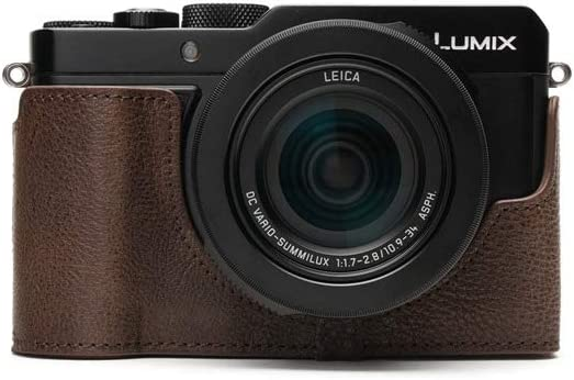 Handmade Genuine Real Leather Half Camera Case Bag Cover for Panasonic LX100 II Sandy Brown Color