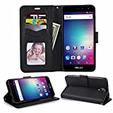 BLU Studio XL 2 S0270UU Case ,Luxury Design Magnetic Leather Flip Wallet Pouch Cover Case Card Holder With a Viewing Stand For BLU Studio XL 2 S0270UU -BLACK