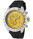 Men's Eograph Chronograph Yellow Grid Dial Black Rubber