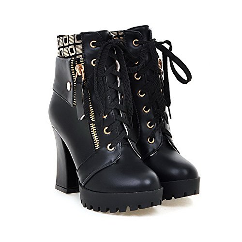 Allhqfashion Women's Lace-up Round Closed Toe High-Heels PU Low-top Boots Black 99Mlj