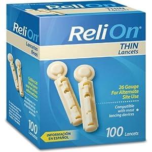 ReliOn Thin Lancets, 100 count