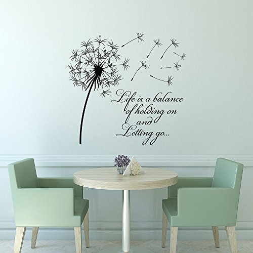 Cheap  Dandelion Wall Decal Life Is A Balance Holding On Letting Go- Inspirational..