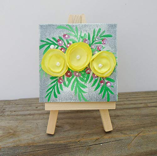 Mini Canvas Art With Easel Gift Set Yellow Flowers