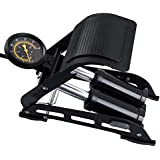 Breewell Aluminium Supermall Portable Bike Pump with Double Barrel Foot Inflator (Standard, Black)