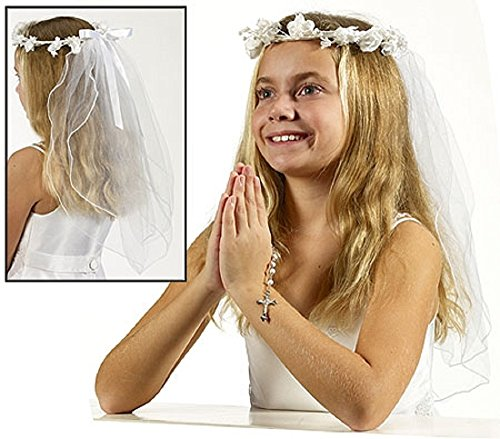First Communion Flower Crown Veil, 19