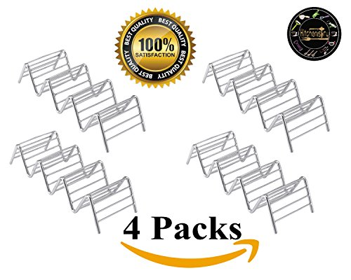 Taco Holder 4 Pack Stainless Steel Taco Stand Taco Rack Space for 12 to 16 Hard or Soft Shell Tacos by Kitchenistry by Kitchenistry