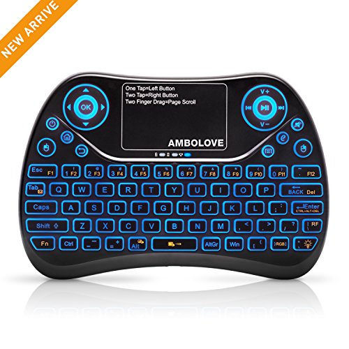 AMBOLOVE 2.4GHz Mini Wireless Keyboard with Touchpad Mouse Combo, Rechargable Li-Ion Battery & Multi-Media Handheld Remote for Google Android TV Box, PS3, PC, Pad