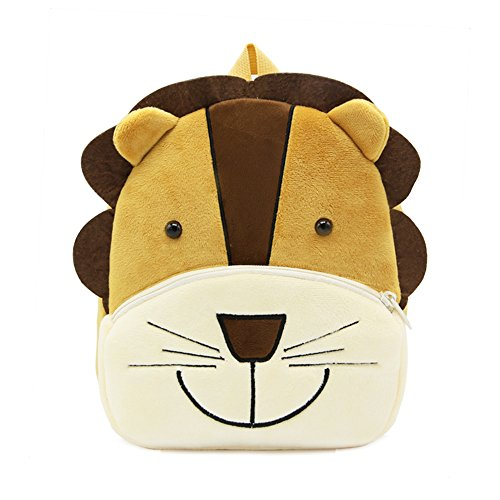 White Dolphin Cute Toddler Backpack,Cartoon Cute Animal Plush Backpack Toddler Mini School Bag for Kids Age 1-3 Years Old(lion), Small