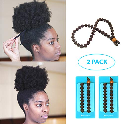 BunzeeBands - NEW Ultimate Headband Hair Tie for Thick Heavy Natural Kinky & Curly Hair. Adjustable Sizing for the Perfect Ponytail, Buns, High Puff and Updos - PATENT PENDING (Brown 2-Pack)