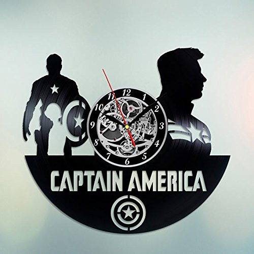 choma Captain America The Winter Soldier Vinyl Record Wall Clock Fan Art  Handmade Decor Unique Decorative Vinyl Clock 12'' (30 cm)