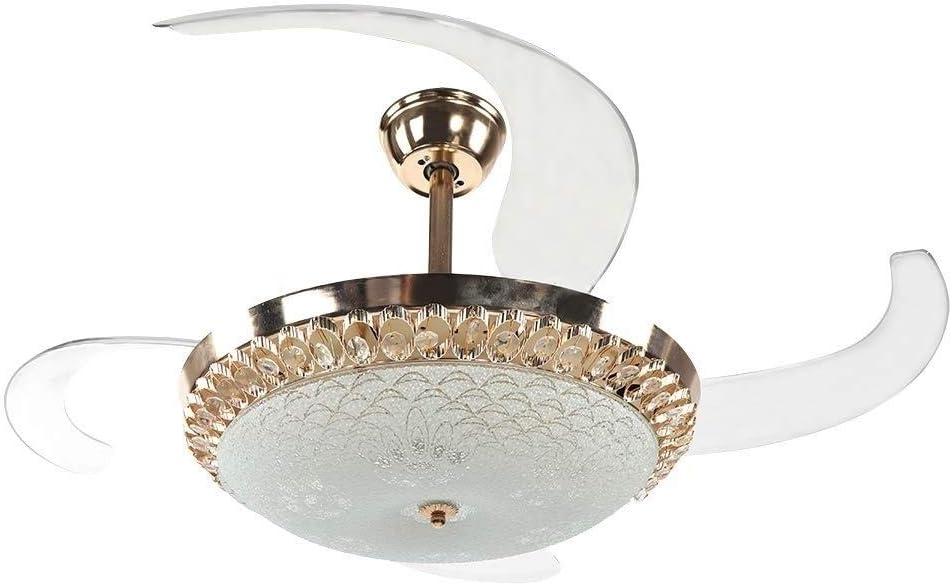 MYXMY Luz de Ventilador de Techo Europea Sala de Estar Conversión de frecuencia Luz de Ventilador Invisible con luz Lámpara de Ventilador LED de Cristal Simple for el hogar