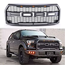 Exoticstore REPLACEMENT 2015 2016 2017 Raptor style Grill Kit For Ford F-150 Raptor Conversion Letter Grille With Amber LED Lights