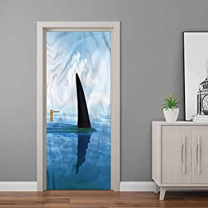 Wall Stickers Shark, Fin Sea Surface Danger Door Decorative Wall Stickers for Walls Home Room Bedroom Office Decoration 32 x 80 Inch