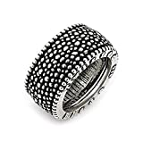 Twisted Blade 925 Sterling Silver Studded Band Ring Size 12