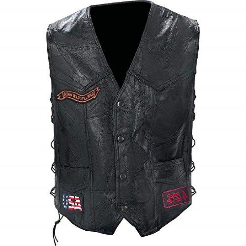 Diamond PlateTM Rock Design Genuine Buffalo Leather Biker Vest 3X