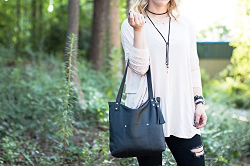 Black Leather Tote - Black Handbag - Leather Shoulder Bag - Tote with Pockets - Purse with Tassel by Beaudin