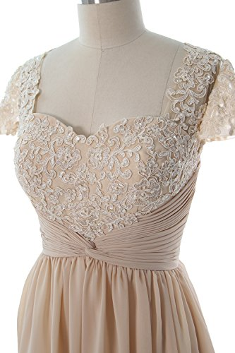Women Mother Cap of Chiffon Silver Dress Dress MACloth Short Sleeve Cocktail Bride Lace qAxq8wCd