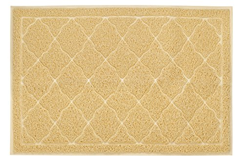Finnkare Litter Mat for Cat Litter/Food,Extra Large Cat Pad, Washable Non Slip Dogfood Mats Soft to Paws ,Fits Under Litter Box ,Beige Color 35 x 23.5 inch