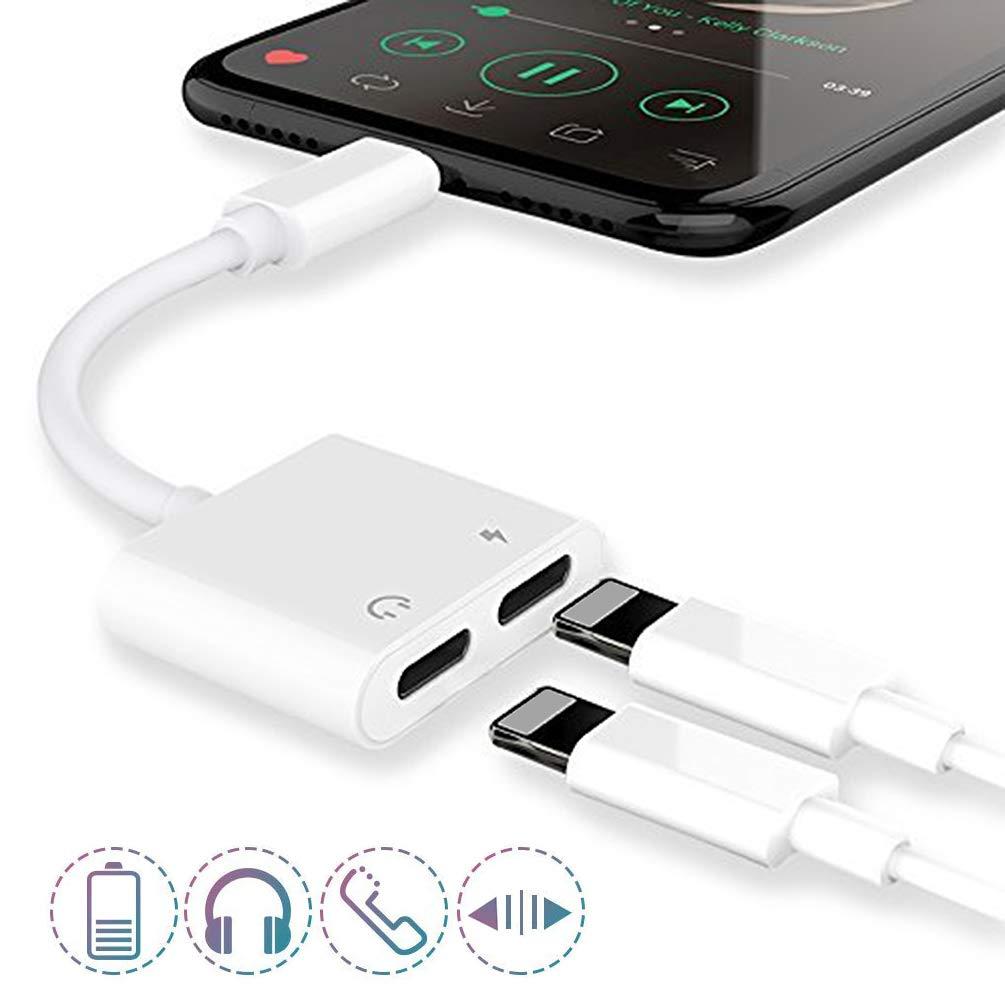 7 Plus 8 Plus Cargador a Adaptador Auxiliar de Adaptador de Conector para Auriculares iPhone 8 M/úsica + Carga + Control de Volumen + Call X Compatible con 12 o Superior