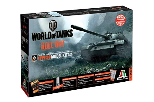 Italeri 36508 World of Tanks WoT Chinese Type 59 Tank Plastic Model Kit with WoT Bonus Code, 1:35 Scale
