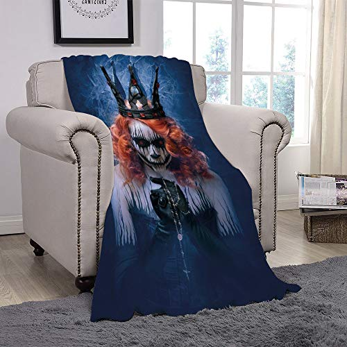YOLIYANA Light Weight Fleece Throw Blanket/Queen,Queen of Death Scary Body Art Halloween Evil Face Bizarre Make Up Zombie,Navy Blue Orange Black/for Couch Bed Sofa for Adults Teen Girls Boys -