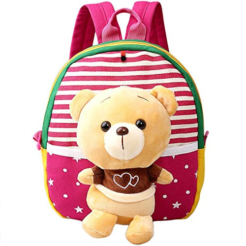 MATMO 3D Cute Cartoon Little Plush Baby Backpack Baby Toy Bag Rose Red Bear -